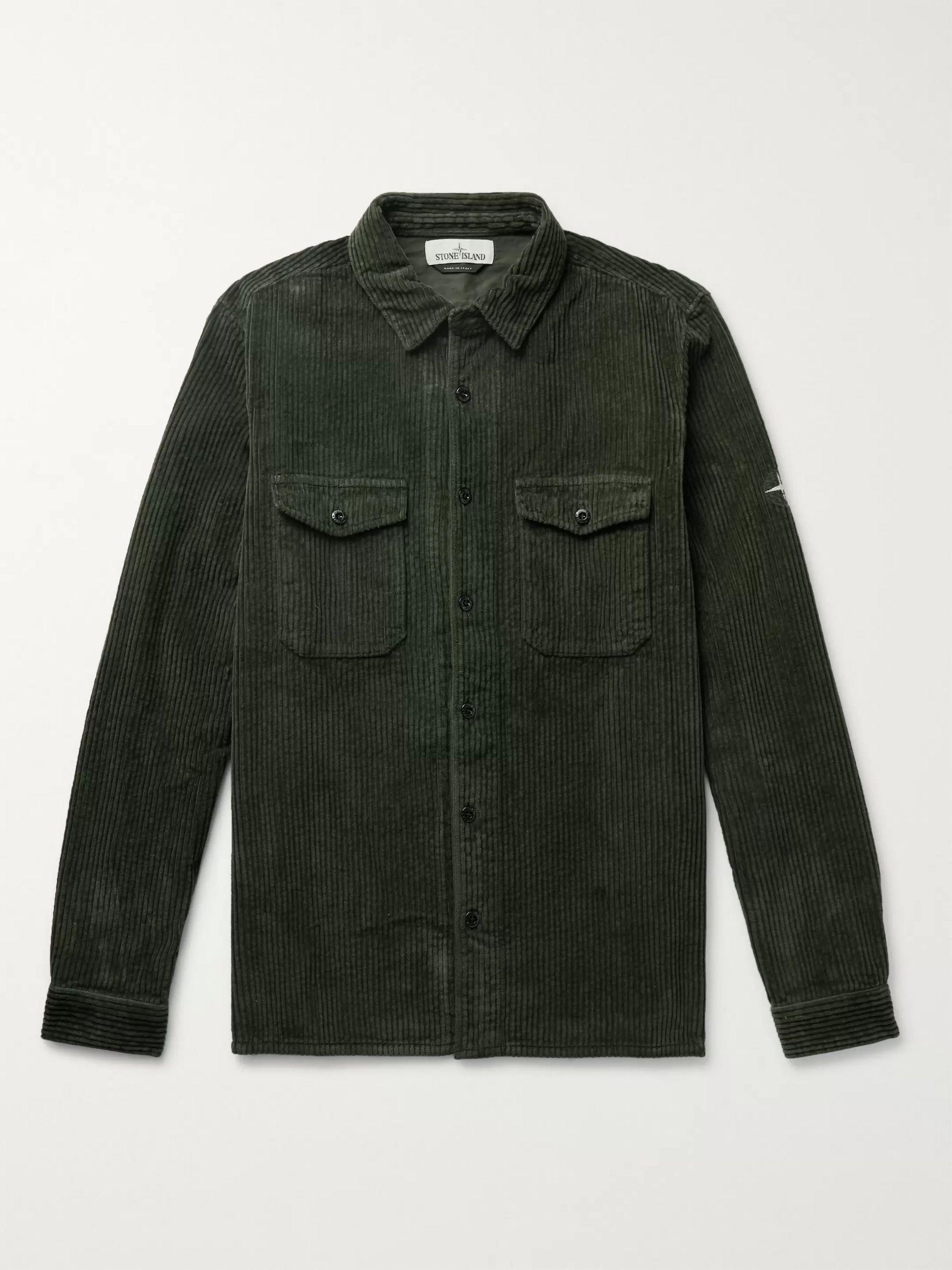 Army Green Cotton-corduroy Shirt | Stone Island