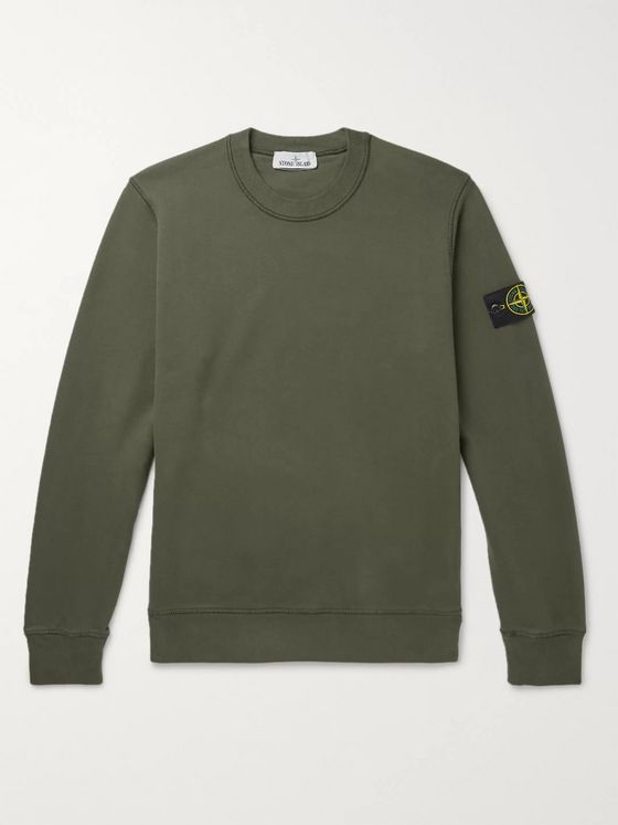 Stone Island Logo-Appliquéd Mélange Fleece-Back Cotton-Jersey Sweatshirt