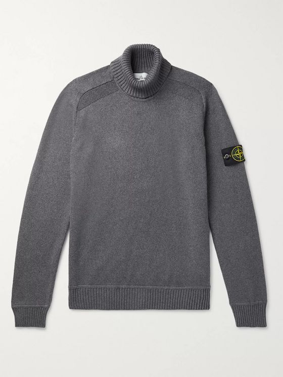 Stone Island Cotton-Blend Rollneck Sweater