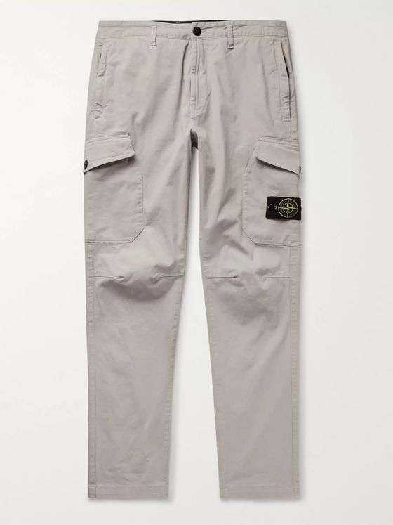 Stone Island Tapered Brushed Stretch-Cotton Twill Cargo Trousers