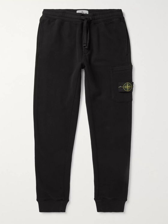 STONE ISLAND Tapered Slim-Fit Logo-Appliquéd Fleece-Back Cotton-Jersey Cargo Sweatpants