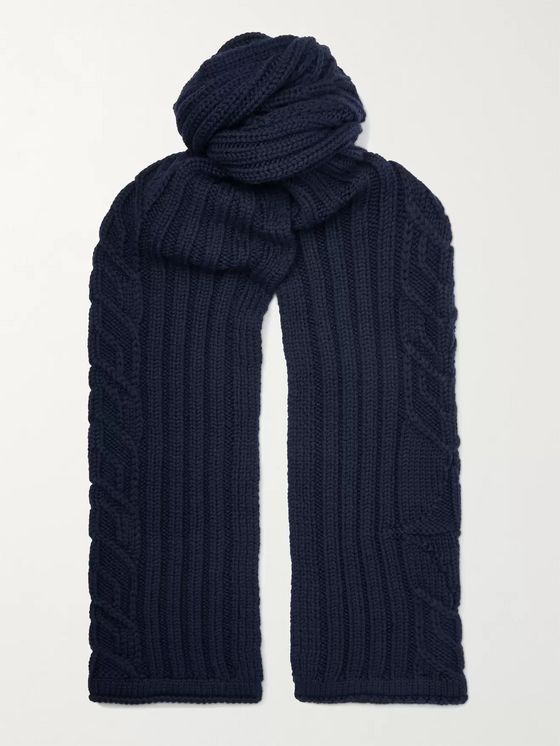 Stone Island Cable-Knit Wool Scarf