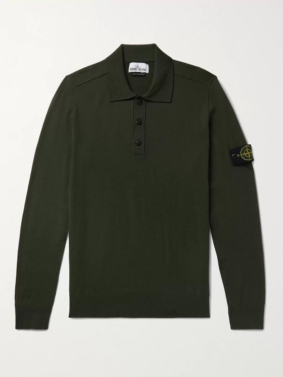 Stone Island Logo-Appliquéd Wool-Blend Polo Shirt