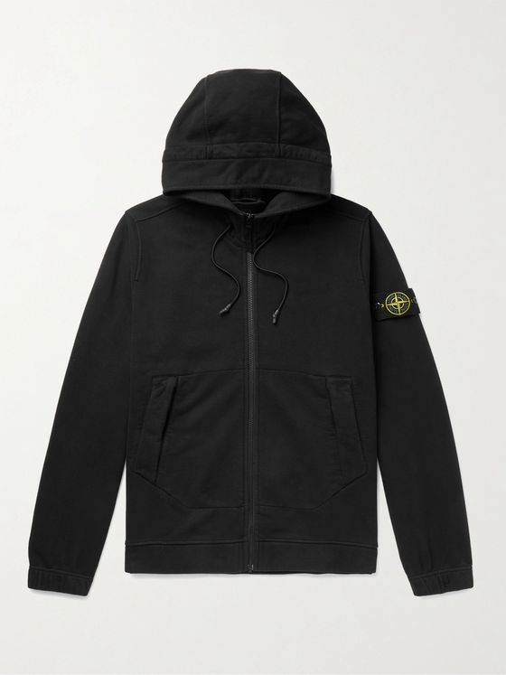 Stone Island Logo-Appliquéd Loopback Cotton-Jersey Zip-Up Hoodie
