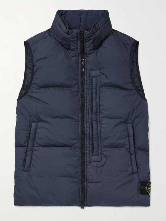 Stone Island Logo-Appliquéd Garment-Dyed Quilted Nylon Hooded Down Gilet