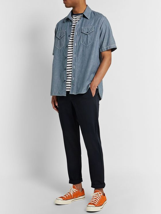 Birdwell Pinstriped Cotton-Chambray Shirt