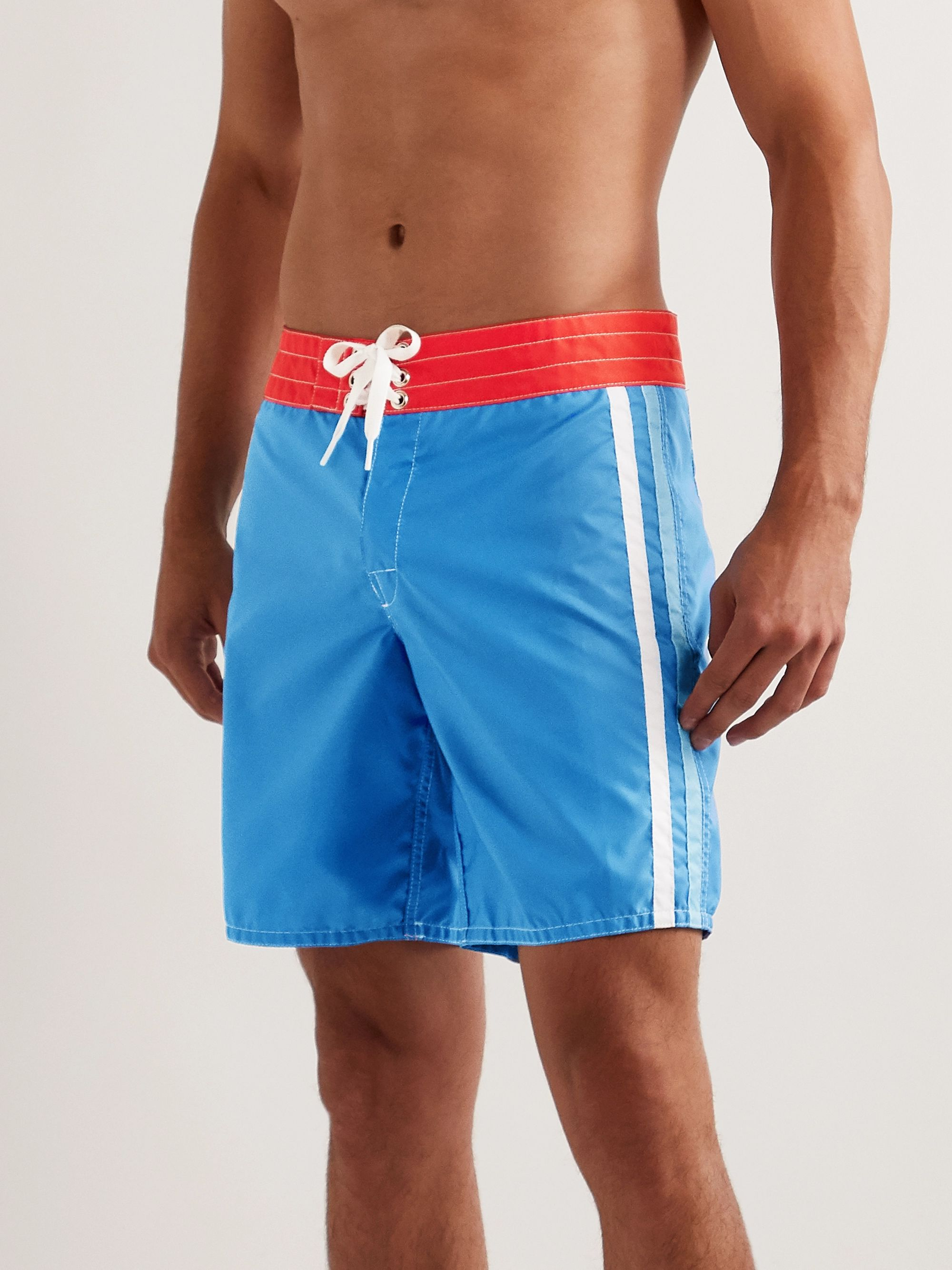 Birdwell Mid-Length Striped Swim Shorts