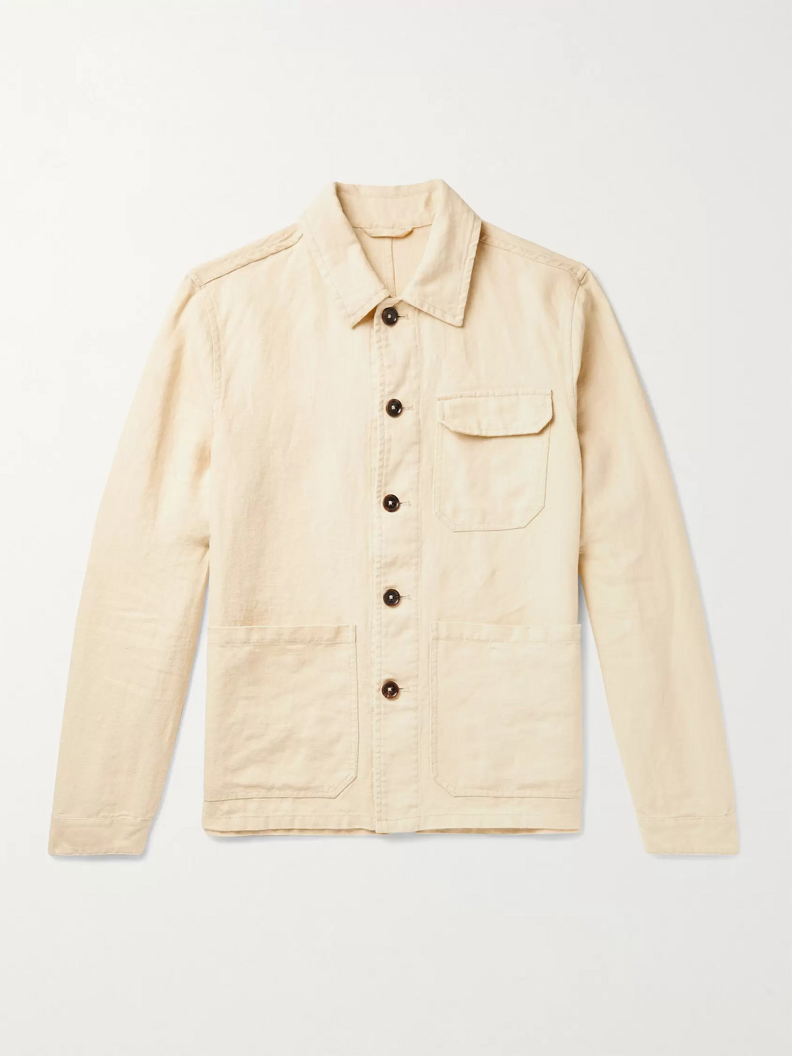 Incotex Linen Shirt Jacket In Yellow