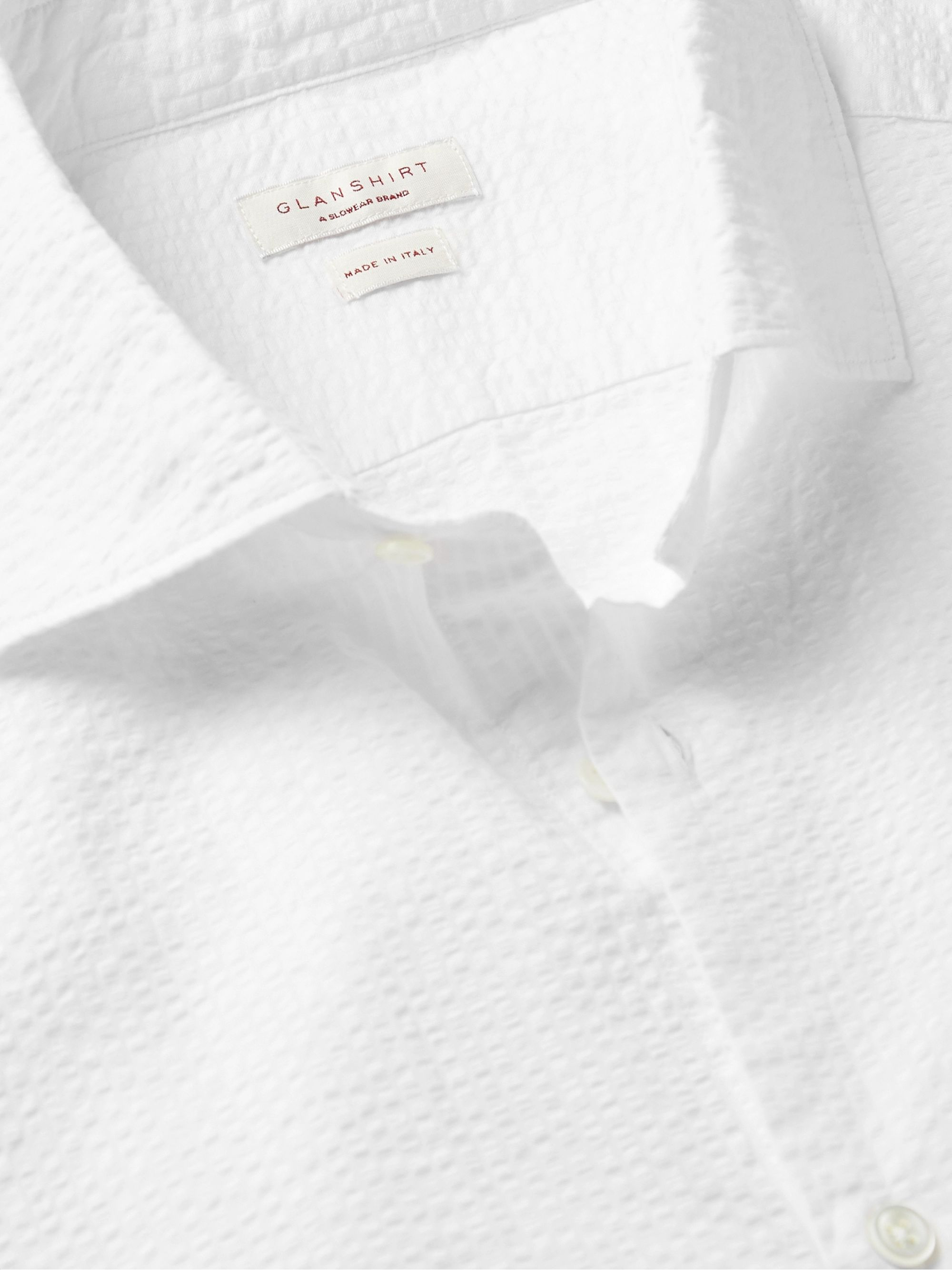 White Feelini Slim-fit Cotton-seersucker Shirt | Incotex