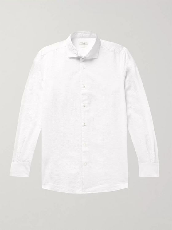 Incotex Feelini Slim-Fit Cotton-Seersucker Shirt