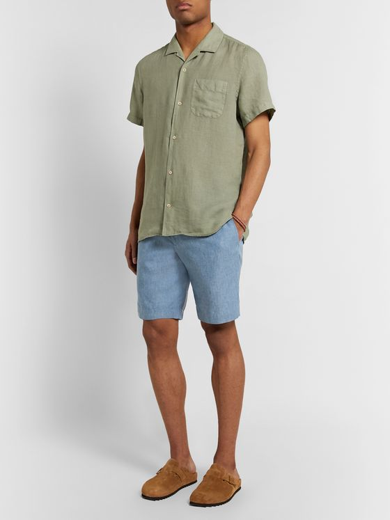 Incotex Linen-Chambray Bermuda Shorts