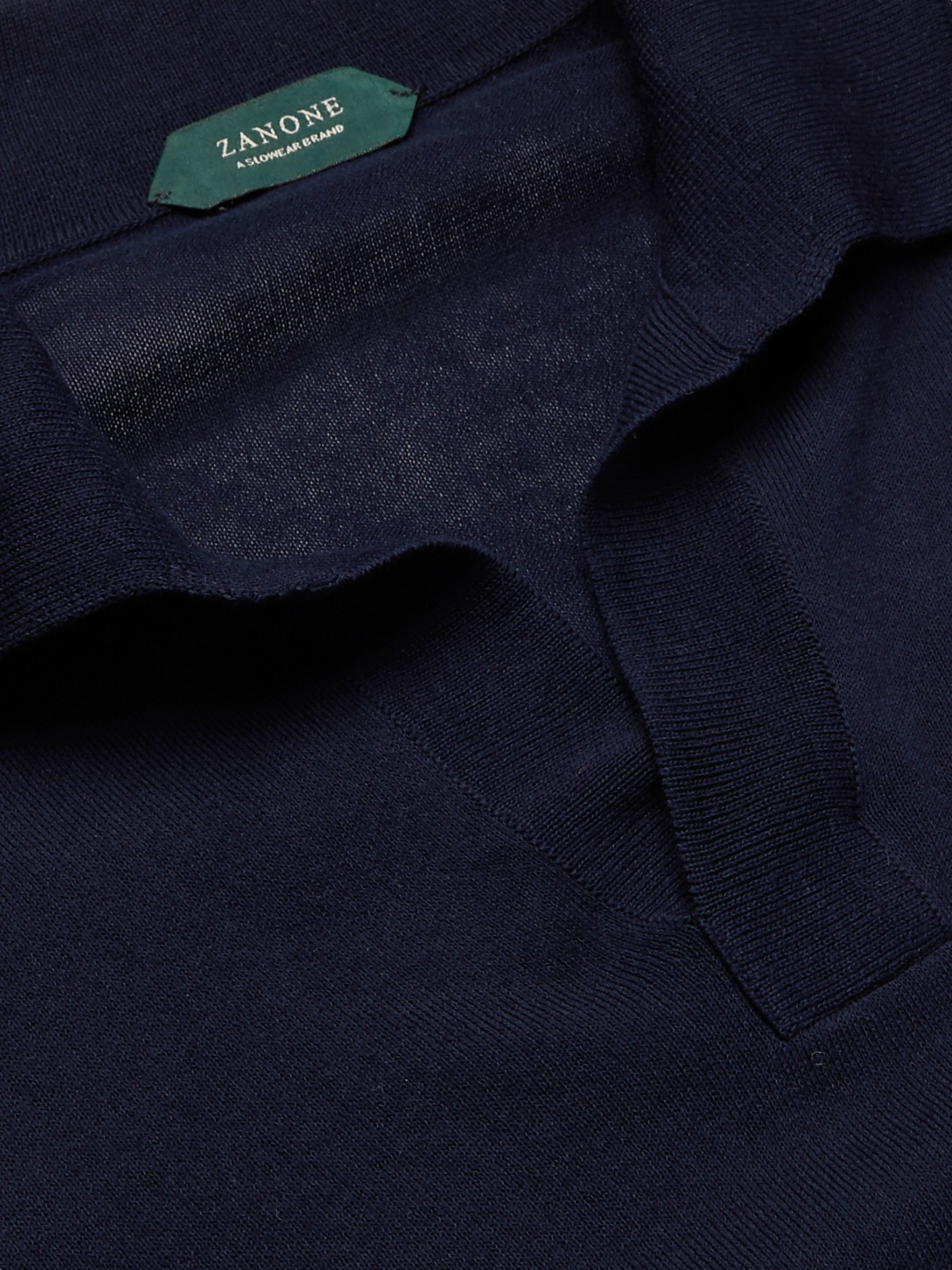 Navy Slim-fit Knitted Cotton Polo Shirt | Incotex