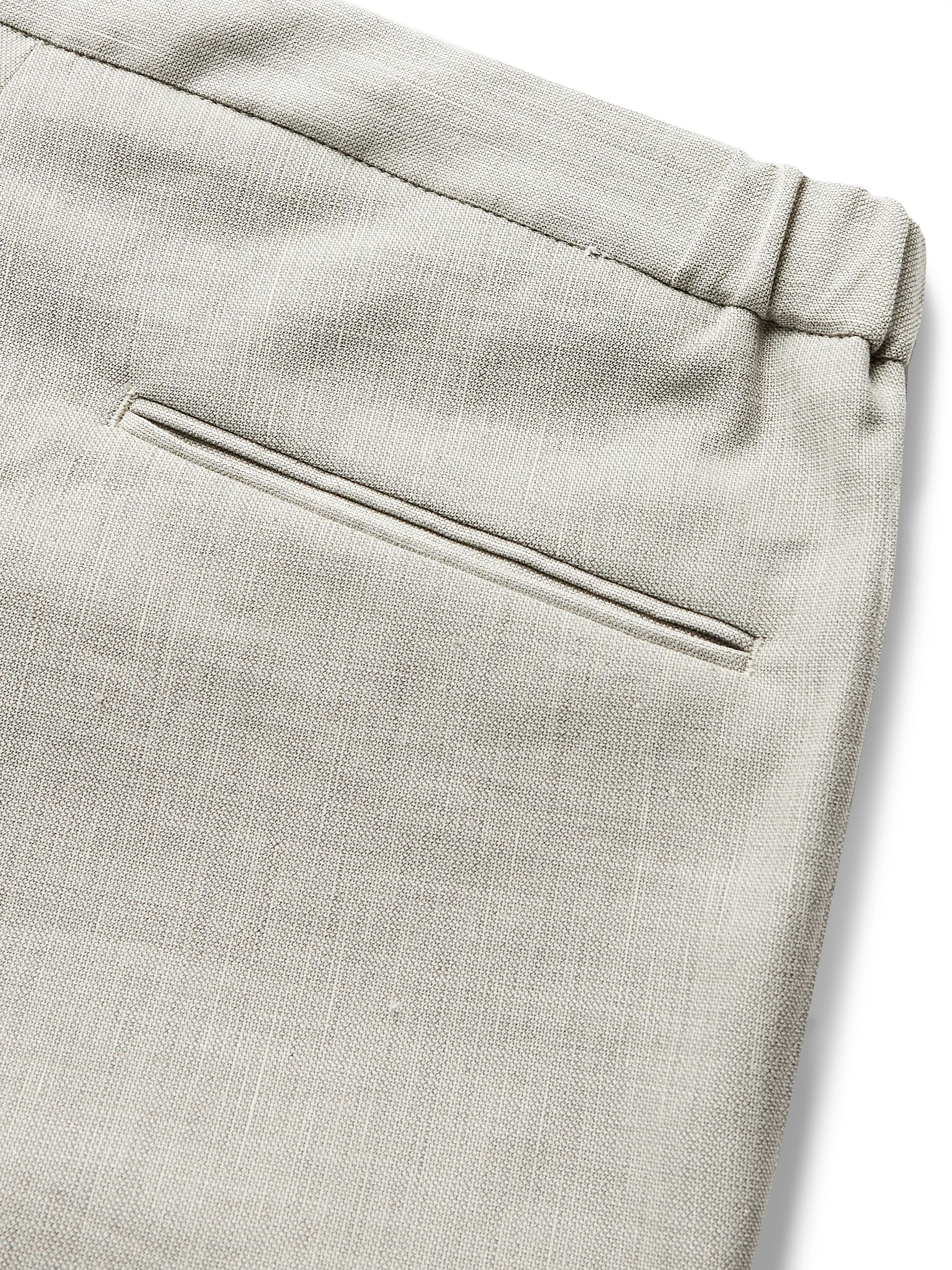 Incotex Slim-Fit Stretch Wool and Linen-Blend Trousers