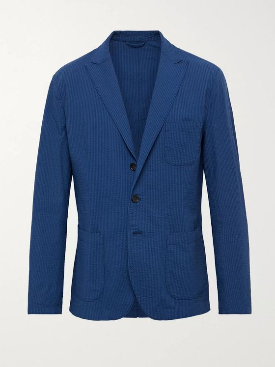Incotex Slim-Fit Unstructured Stretch-Cotton Seersucker Blazer