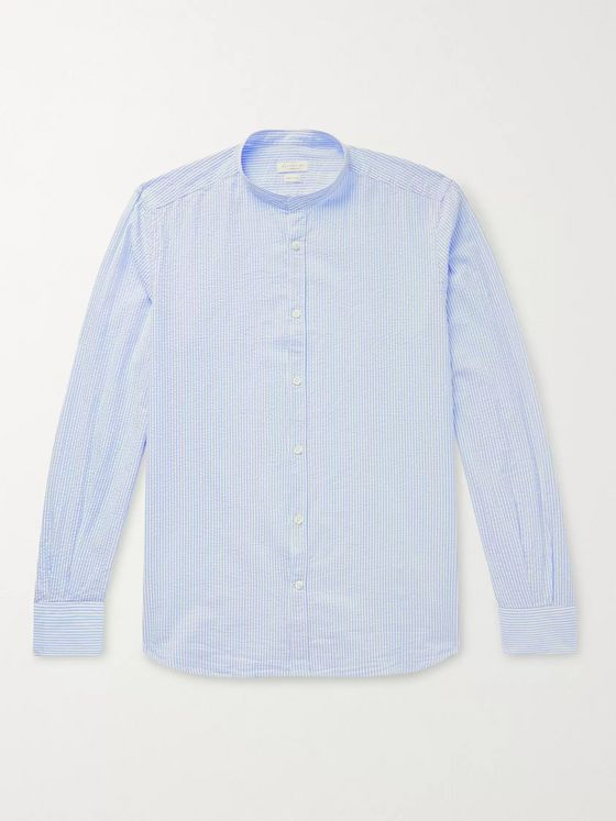 INCOTEX Slim-Fit Grandad-Collar Striped Cotton-Seersucker Shirt