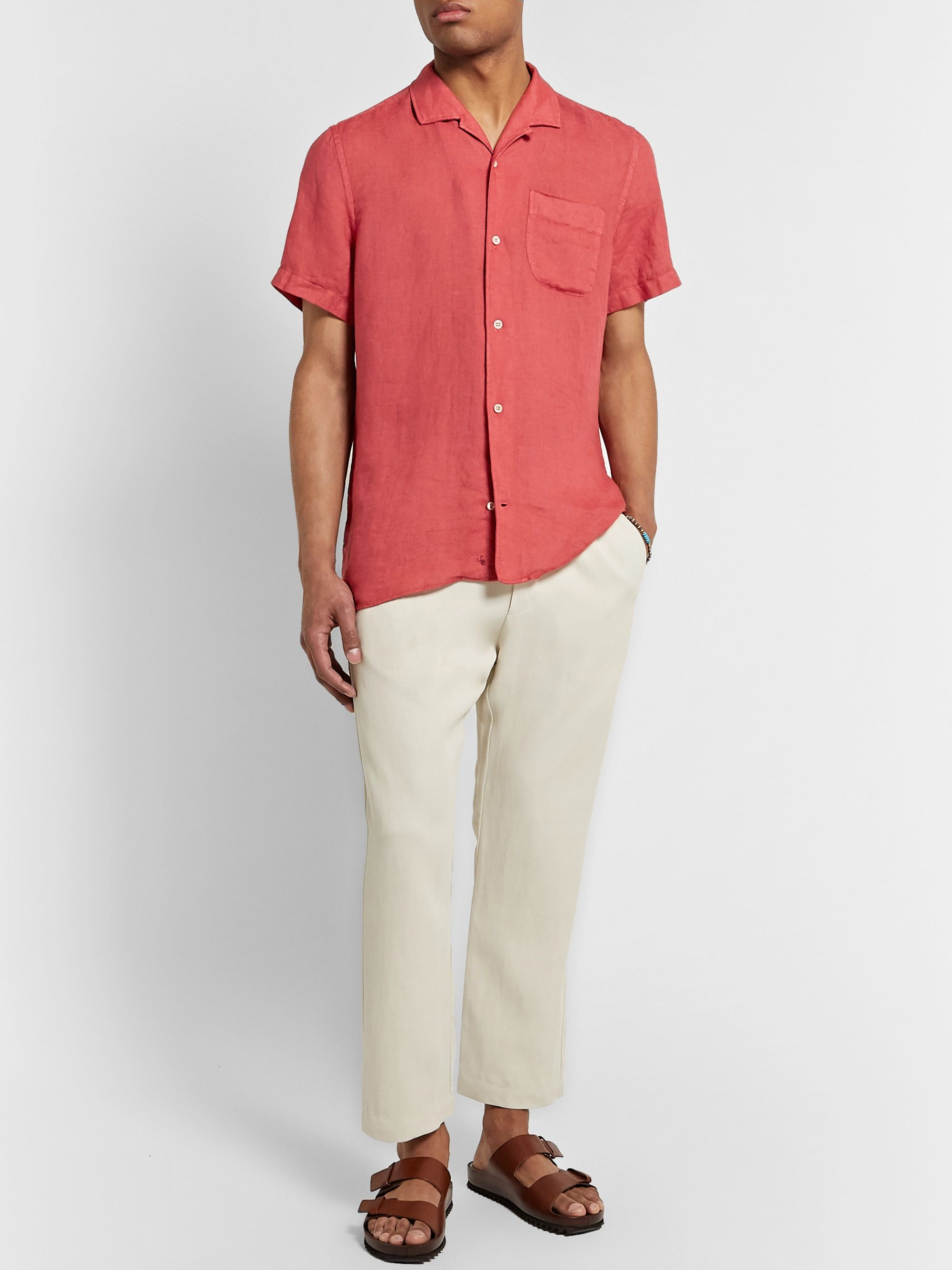 Incotex Jake Camp-Collar Linen Shirt