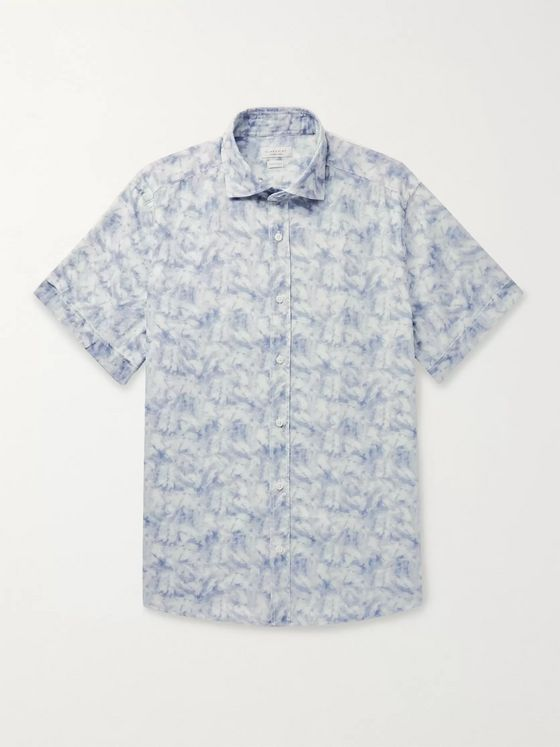 INCOTEX Tie-Dyed Cotton and Linen-Blend Shirt