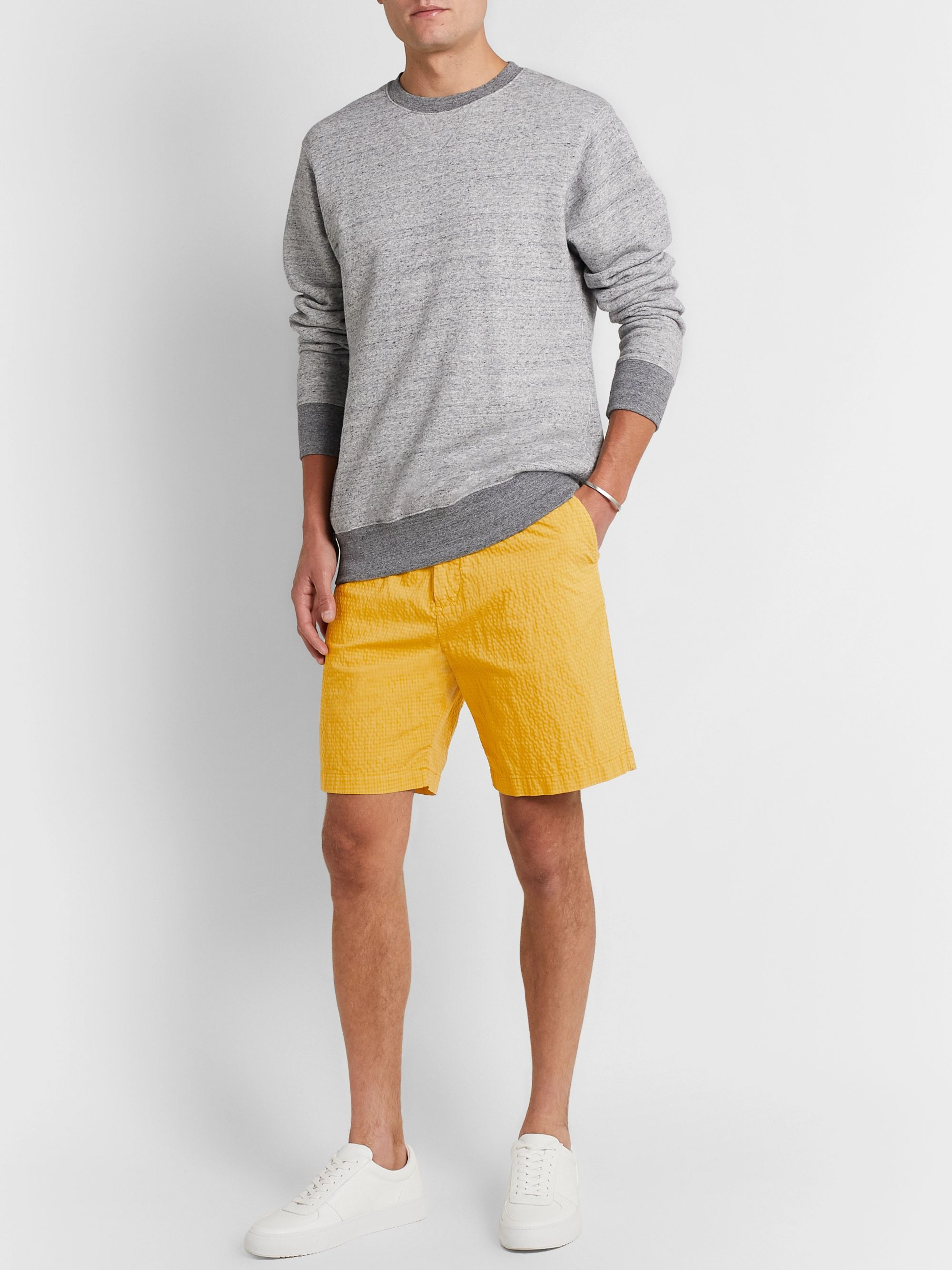 Mr P. Garment-Dyed Cotton-Blend Seersucker Shorts