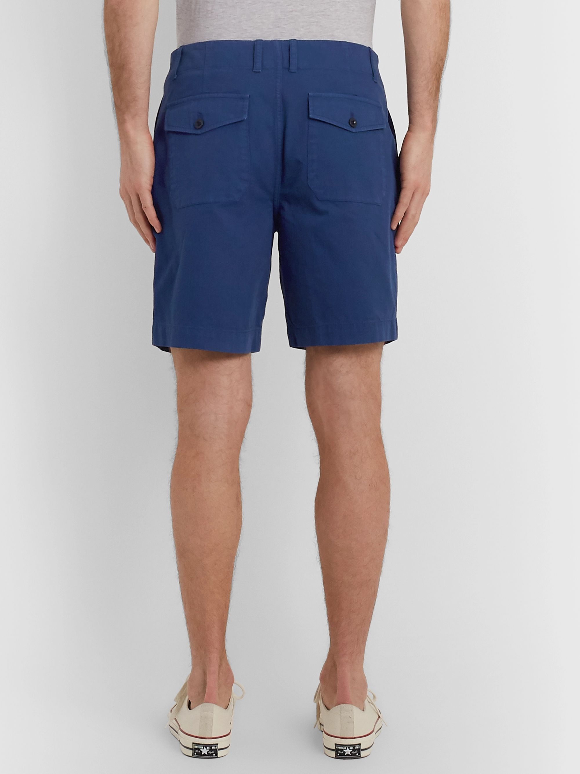Mr P. Garment-Dyed Herringbone Cotton Shorts