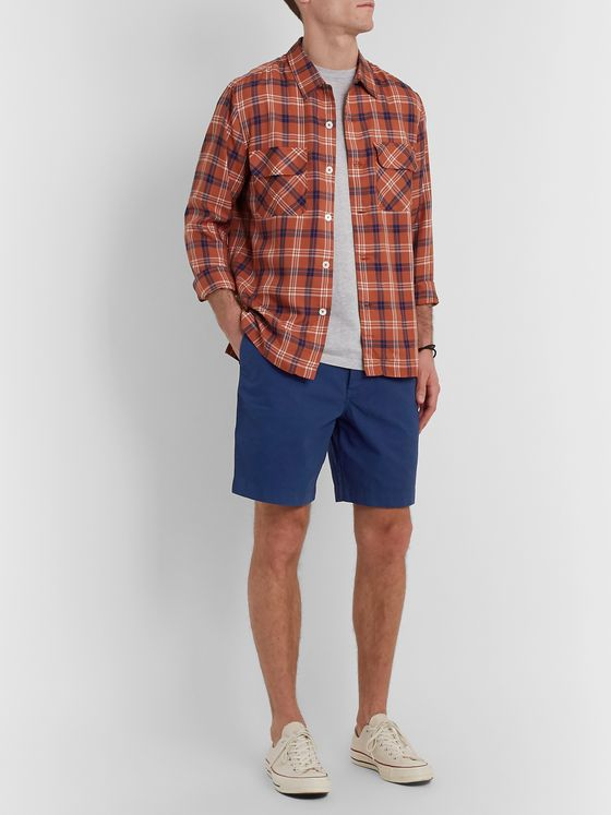 Mr P. Garment-Dyed Cotton-Herringbone Shorts