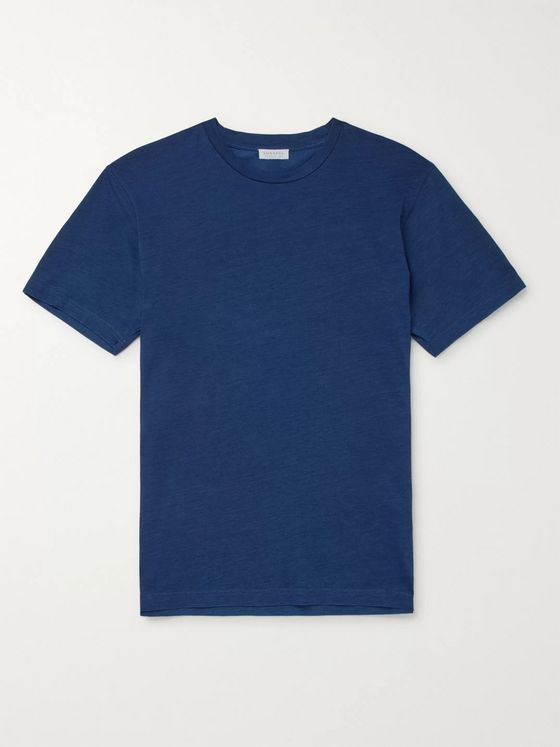 Sunspel Indigo-Dyed Organic Cotton-Jersey T-Shirt