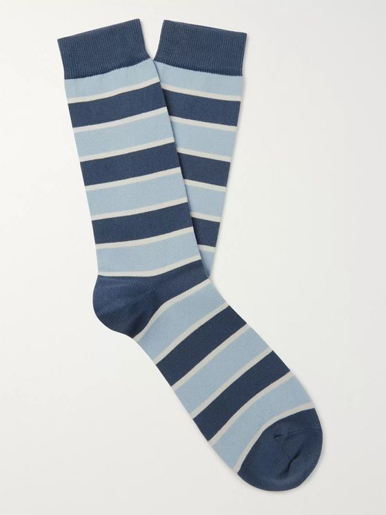 Sunspel Striped Cotton-Blend Socks