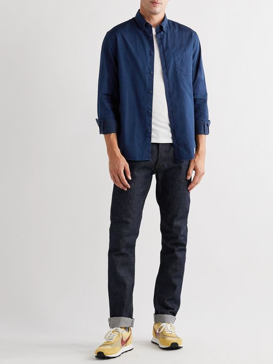 Sunspel Button-Down Collar Cotton-Chambray Shirt