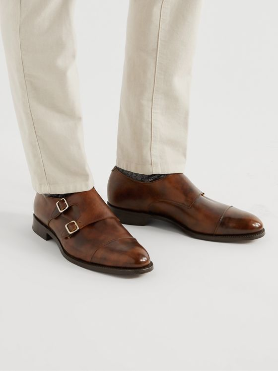 TRICKER'S Leavenworth Burnished-Leather Monk-Strap Shoes