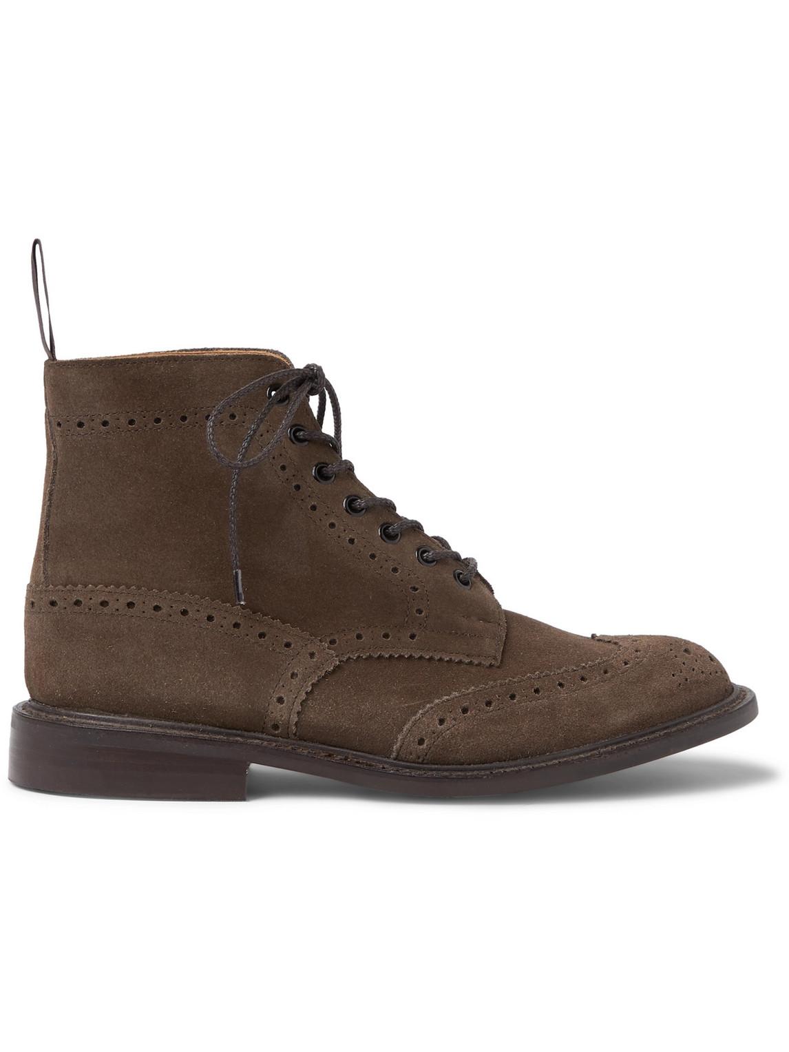 Tricker's - Stow Suede Brogue Boots - Men - Brown - 10
