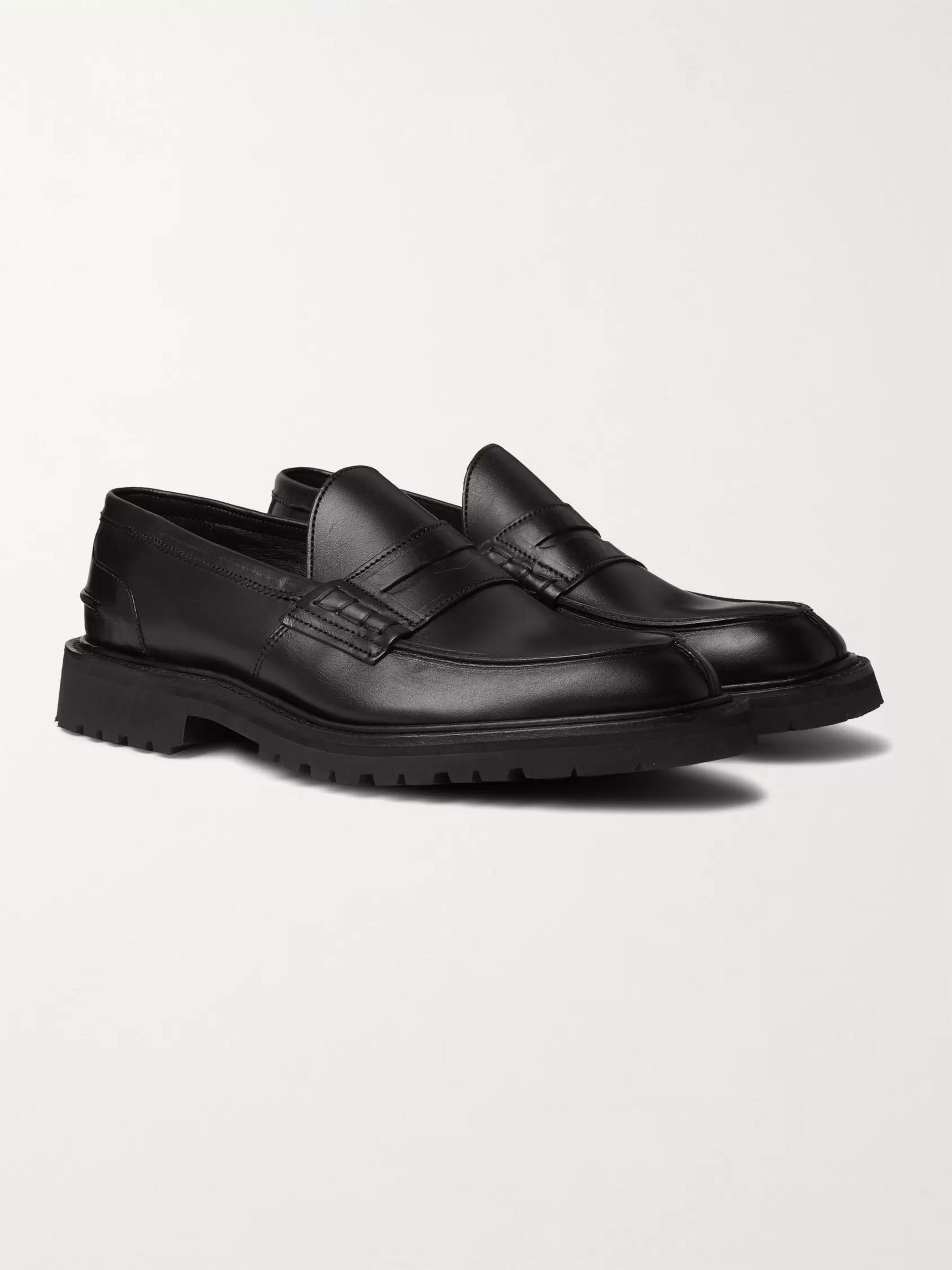 Black James Leather Loafers | Tricker's