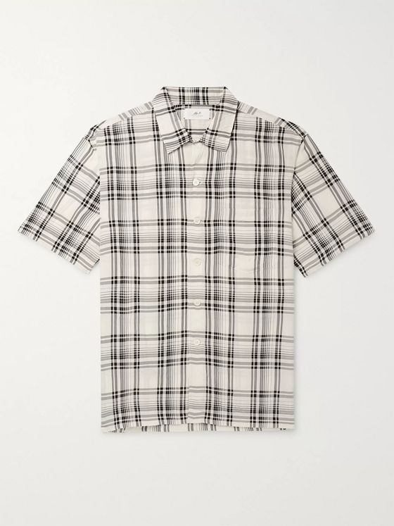 Mr P. Oversized Camp-Collar Checked Crinkled-Voile Shirt