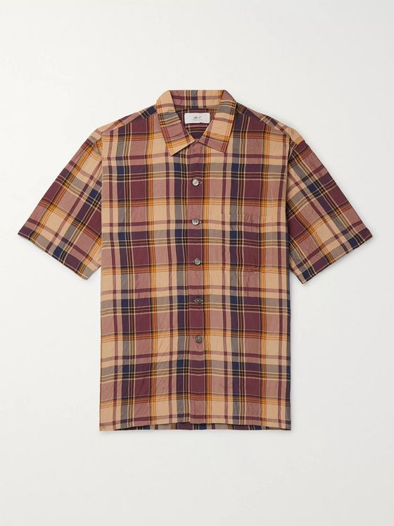 MR P. Camp-Collar Checked Crinkled-Poplin Shirt