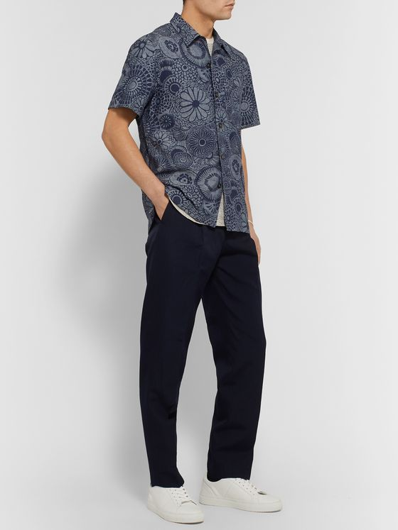 Mr P. Camp-Collar Indigo-Dyed Floral-Print Cotton Shirt