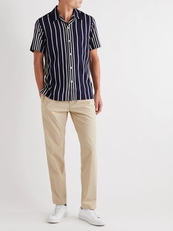 Mr P. Camp-Collar Striped Twill Shirt