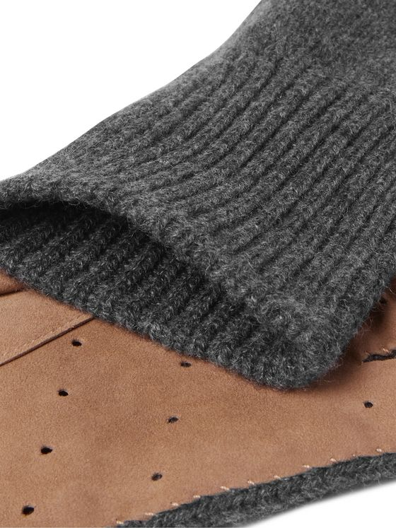BRUNELLO CUCINELLI Perforated Suede-Panelled Cashmere Gloves