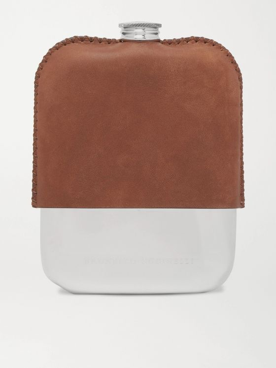 BRUNELLO CUCINELLI Nubuck and Silver-Tone Hip Flask