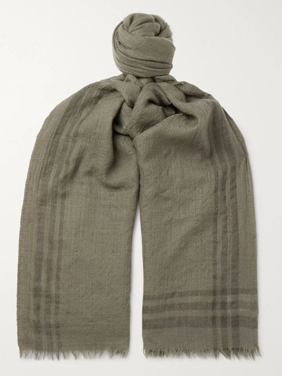 BRUNELLO CUCINELLI Fringed Striped Cashmere Scarf