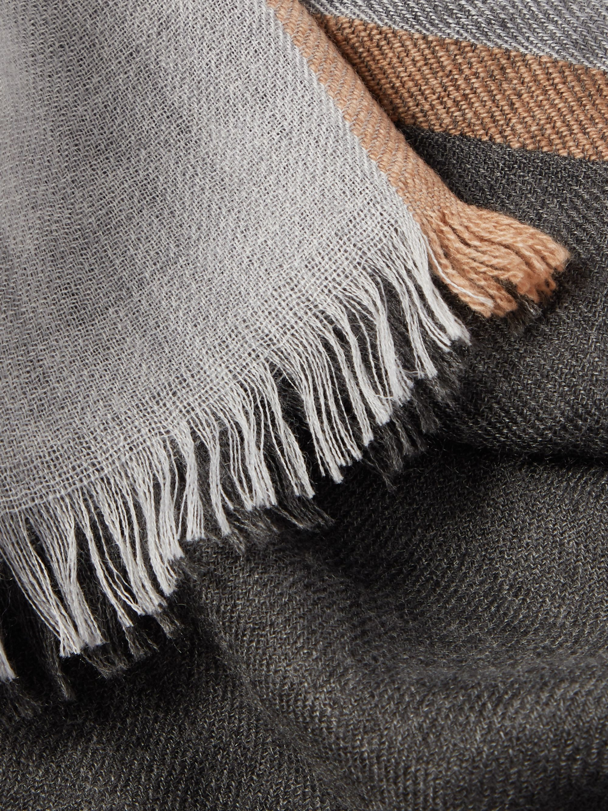 Brunello Cucinelli Fringed Striped Cashmere and Silk-Blend Scarf