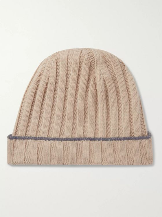 BRUNELLO CUCINELLI Contrast-Tipped Ribbed Cashmere Beanie