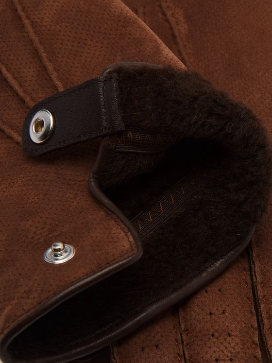 Brunello Cucinelli Shearling-Lined Perforated Suede Gloves