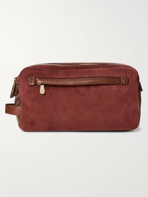 Brunello Cucinelli Leather-Trimmed Suede Wash Bag