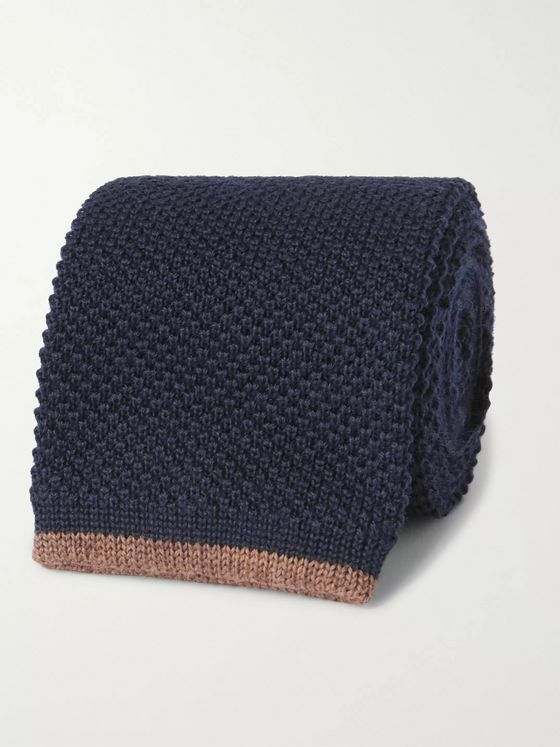 BRUNELLO CUCINELLI 6.5cm Contrast-Tipped Knitted Wool Tie