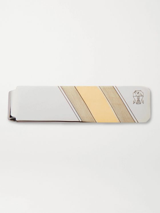 BRUNELLO CUCINELLI Engraved Silver and Gold-Tone Tie Bar