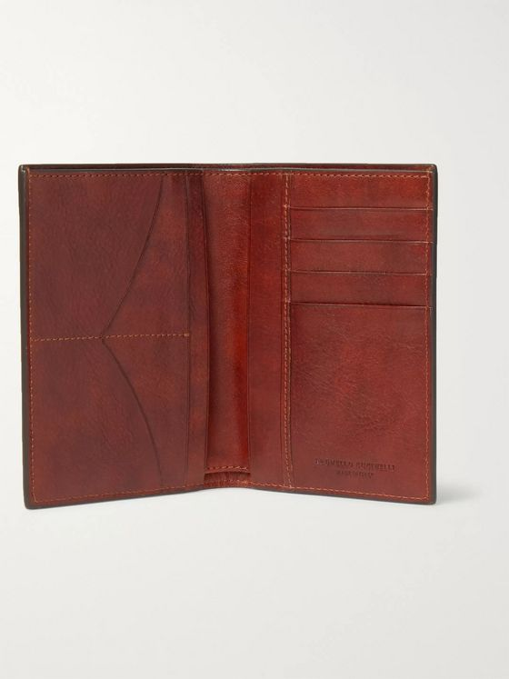 Brunello Cucinelli Burnished Full-Grain Leather Passport Holder