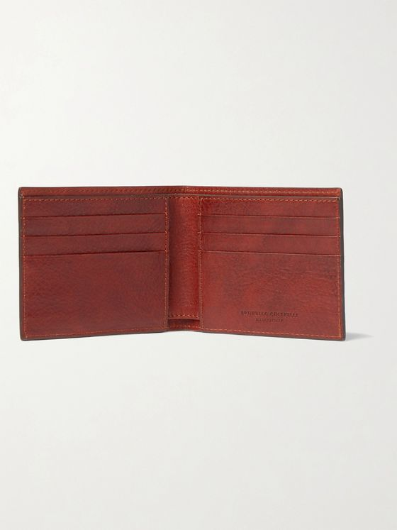 Brunello Cucinelli Burnished Full-Grain Leather Billfold Wallet