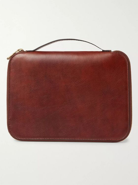 Brunello Cucinelli Burnished Full-Grain Leather Pouch