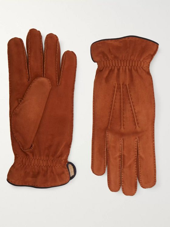 Brunello Cucinelli Cashmere-Lined Suede Gloves