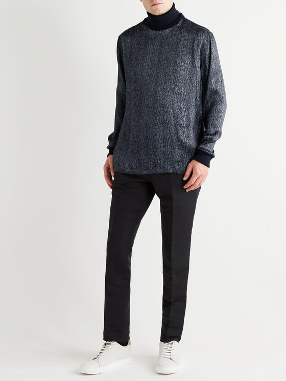Giorgio Armani Printed Satin and Virgin Wool Rollneck Sweater