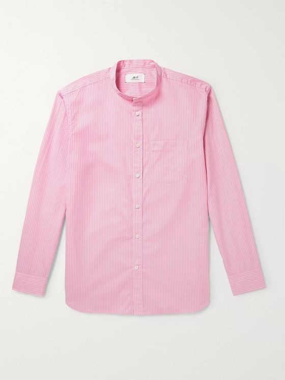 Mr P. Grandad-Collar Striped Cotton-Poplin Shirt