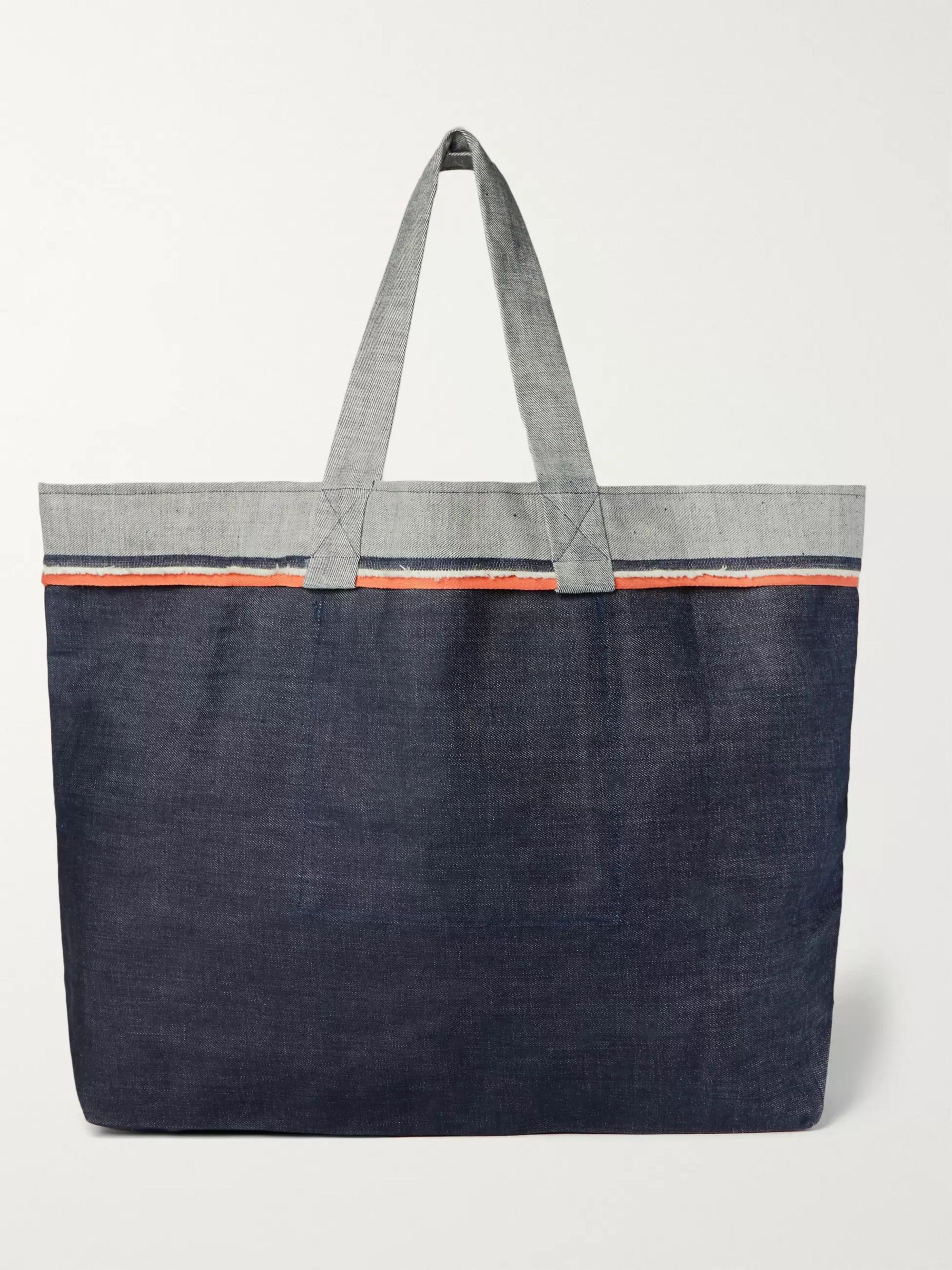 Cleverly Laundry Twill-Trimmed Frayed Denim Tote